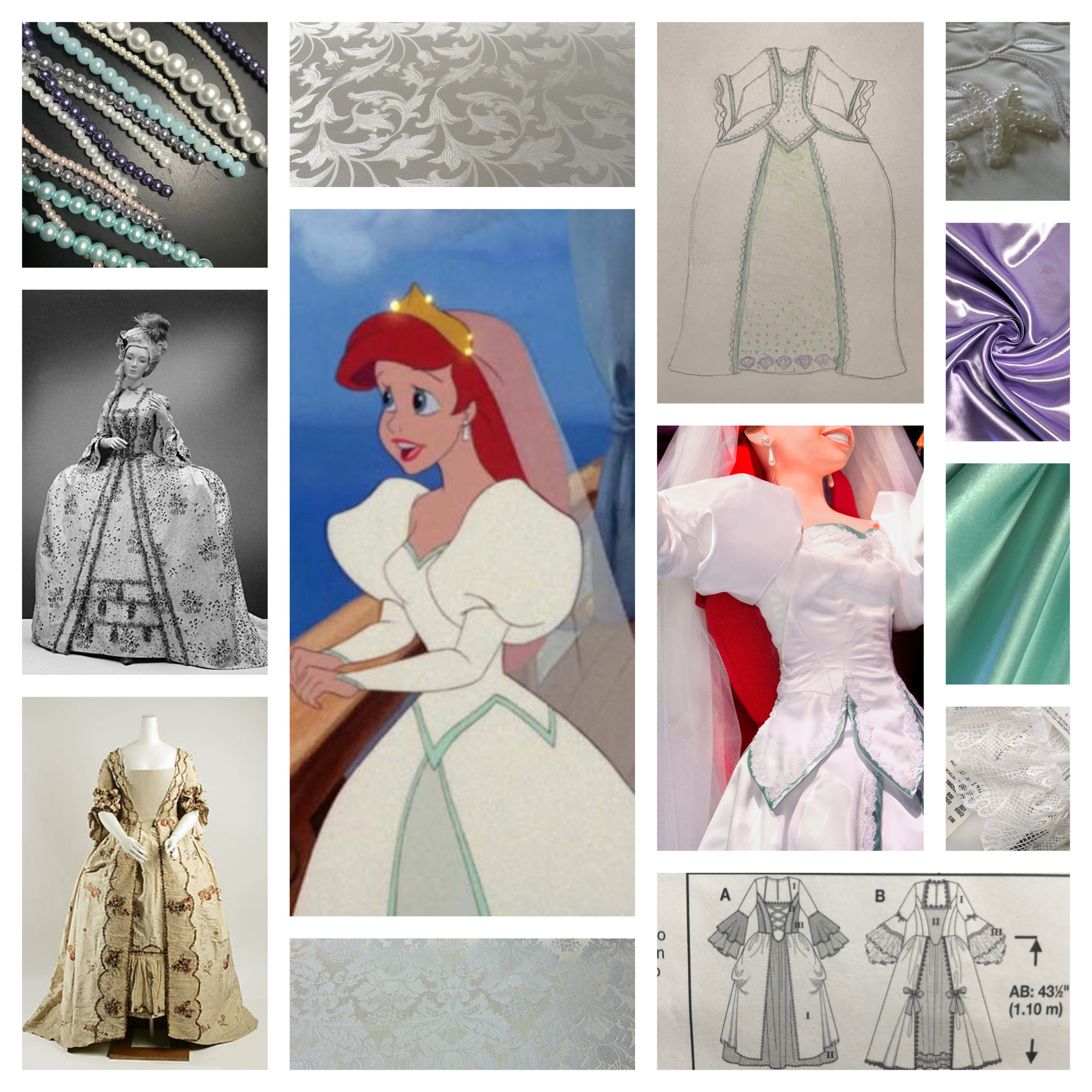 Fabric is here, patterns have been cut out, and mannequins are ready to be draped.  We are making slow but steady progress now on our Rococo Disney princesses.  Holy horseradish, these gowns are going to be soooo heavy!