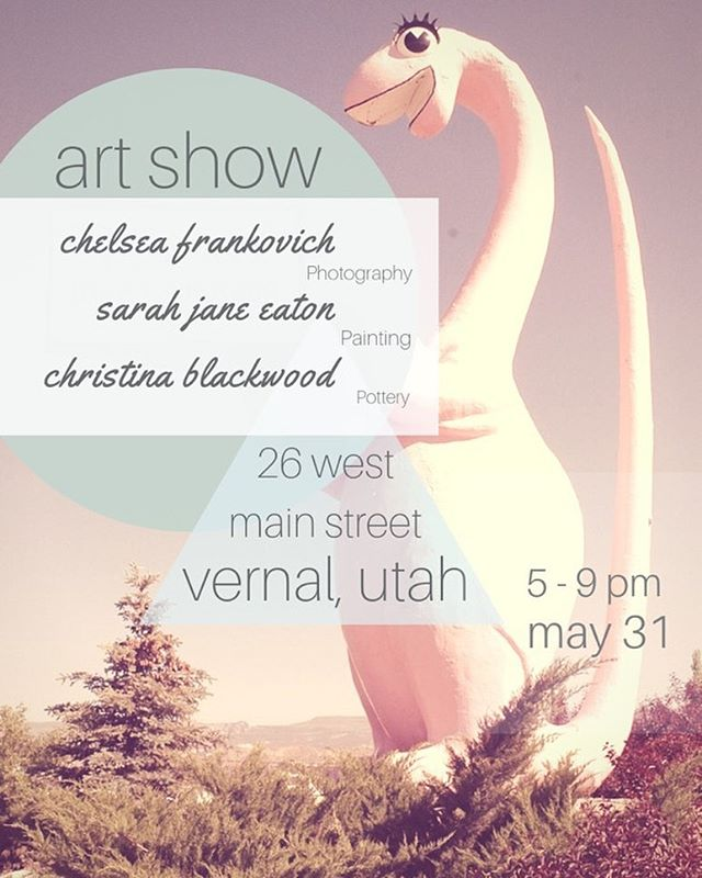 One week! I'm so happy to be showing with Christina Marie Blackwood and Chelsea Frankovich, two amazing women and phenomenal artists. Join us for a night of art, community, and friends! #artists #anartshow #vernalut #painting #portraitpainting #pouredpainting #photography #pottery #supportlocalartists #supportartists
