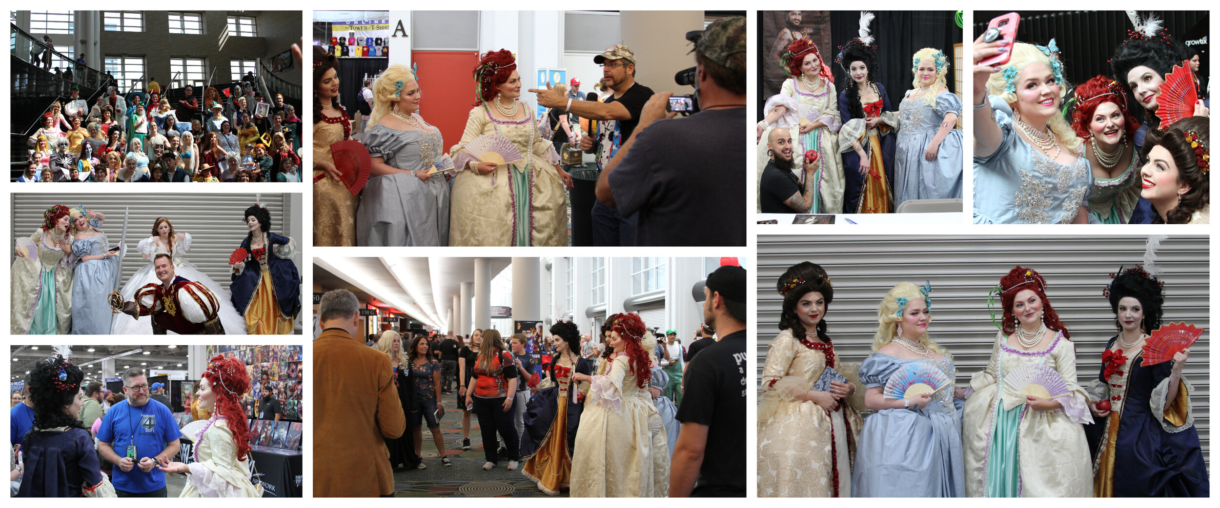 Saturday at FanX, top L-R: Disney cosplay group photos, being interviewed for a cable show, tattoos!, selfies had to happen, Finding other princesses and a prince, being interviewed again, and getting stopped for photos for an hour in the hall.