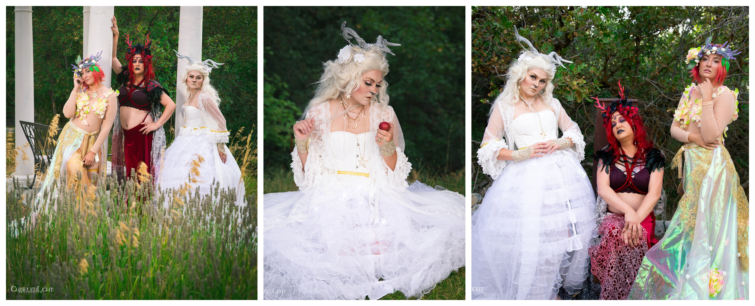 The Seelie and Unseelie Queens, with the White Hind- photos courtesy of Chiseled Light  With Kapi and Yazmine