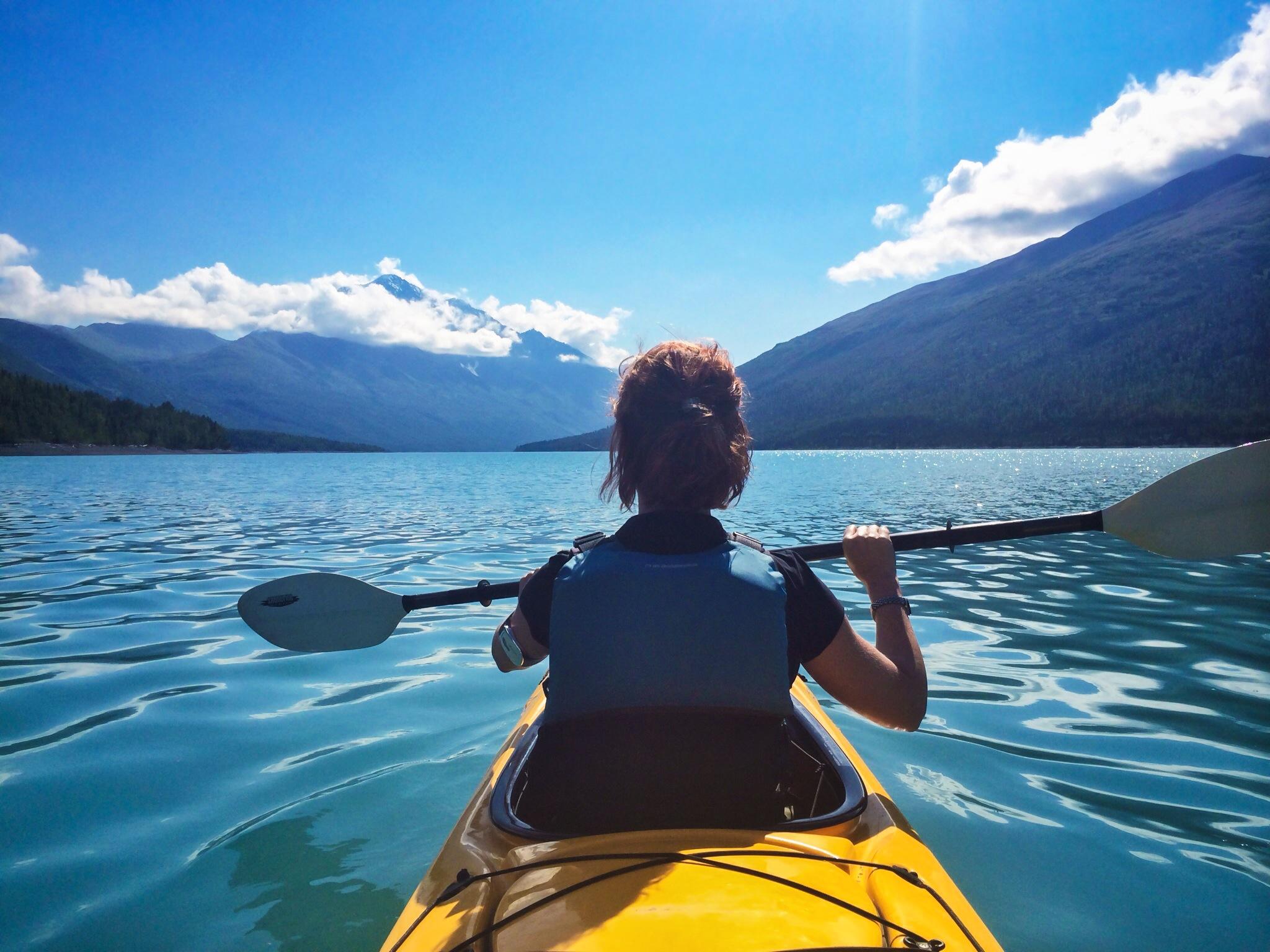 Tandem kayak on the glacier lake