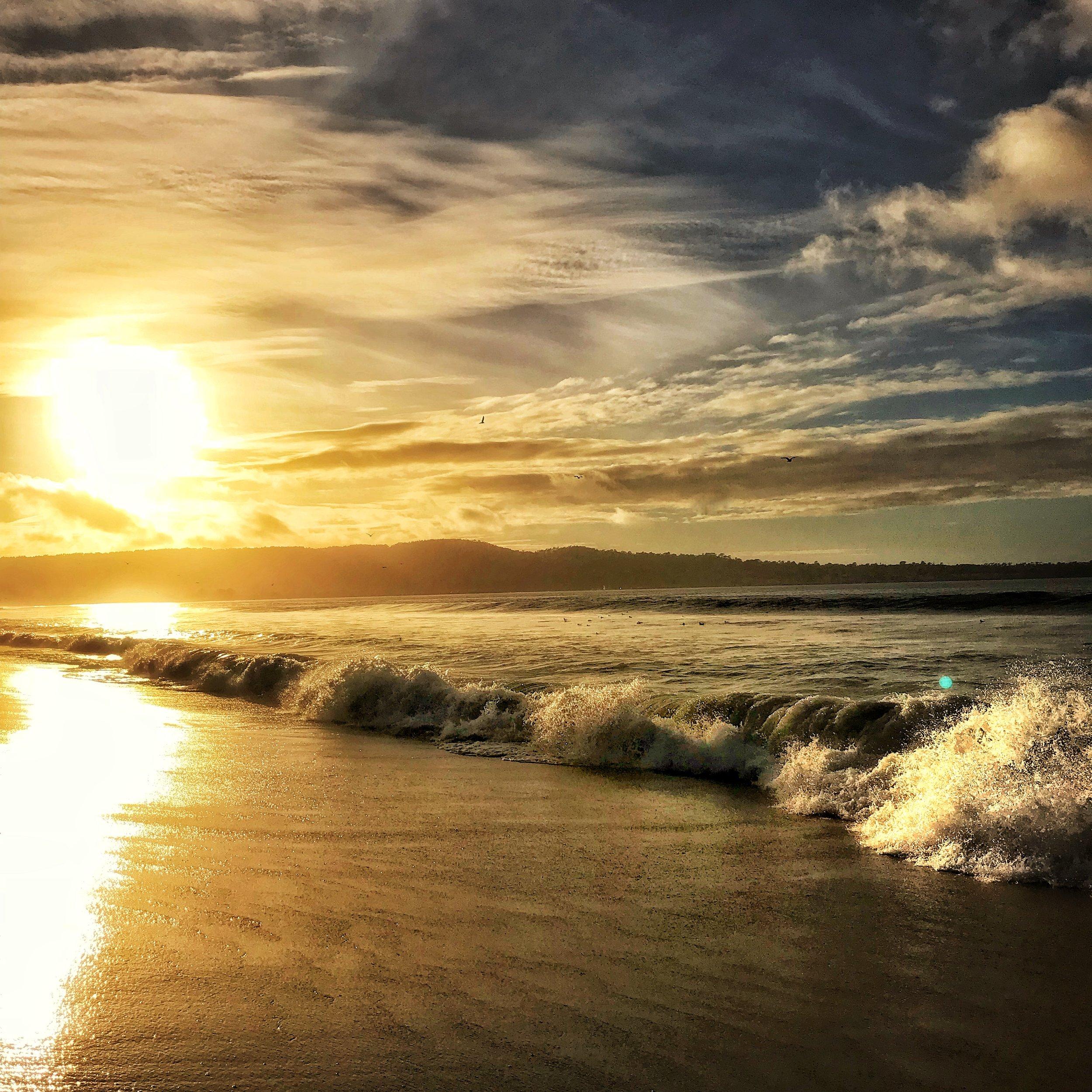 monterey bay at sunset