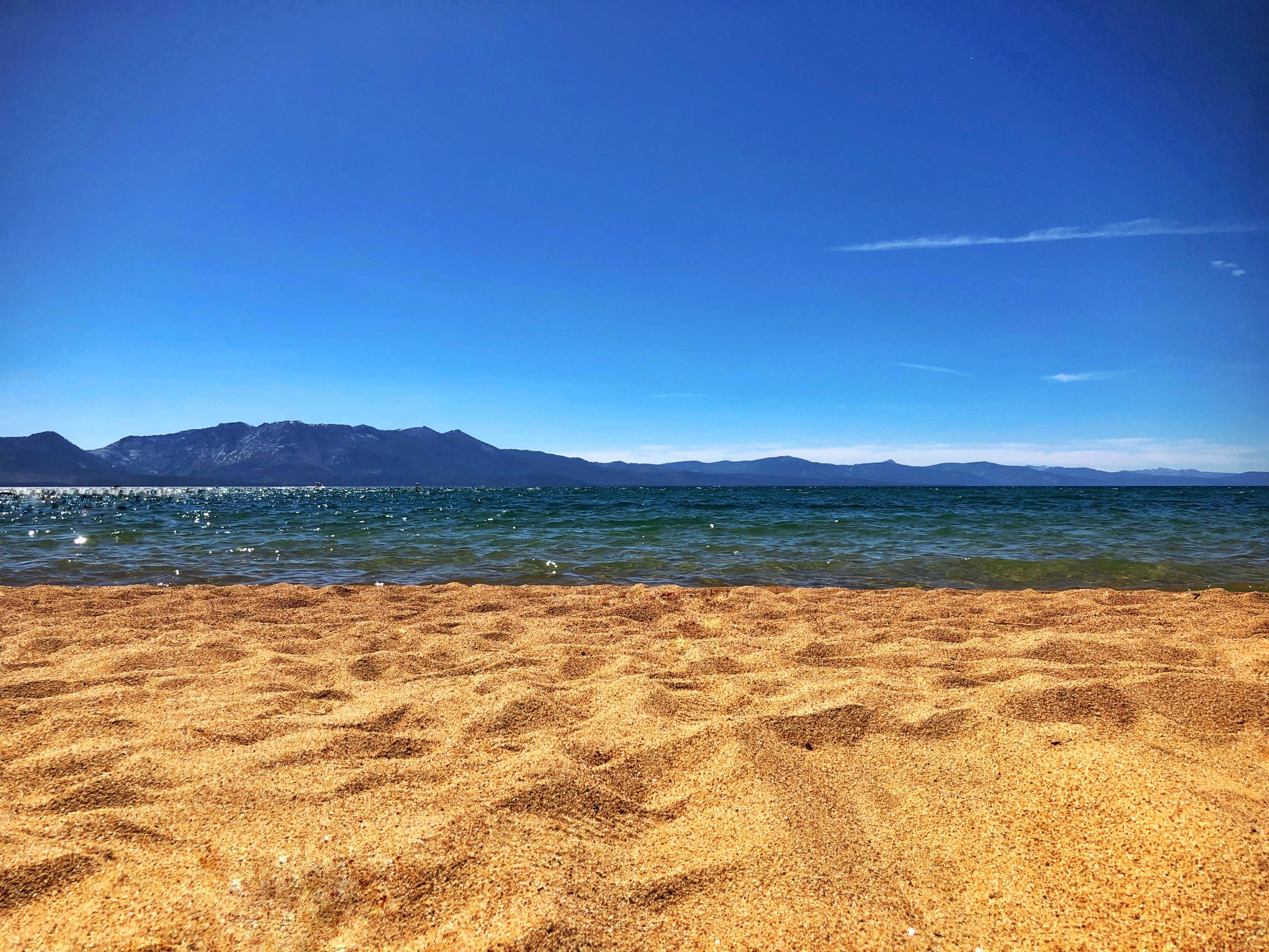 A private beach on the shore of south lake tahoe