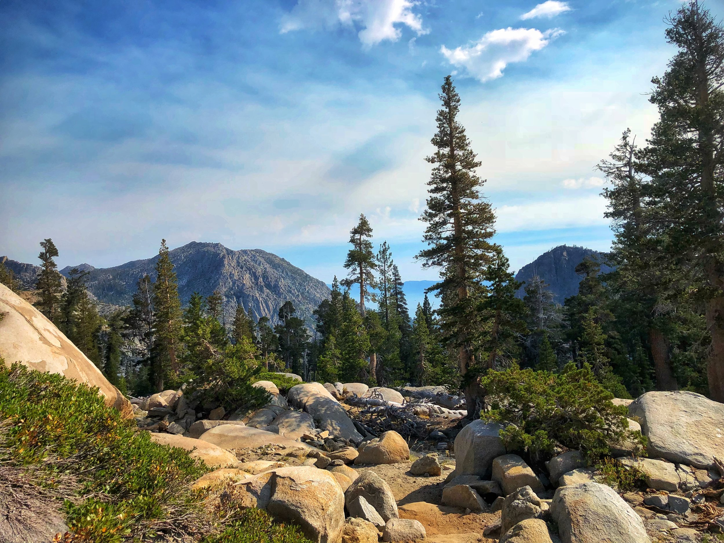 A view into the tahoe basin from desolation