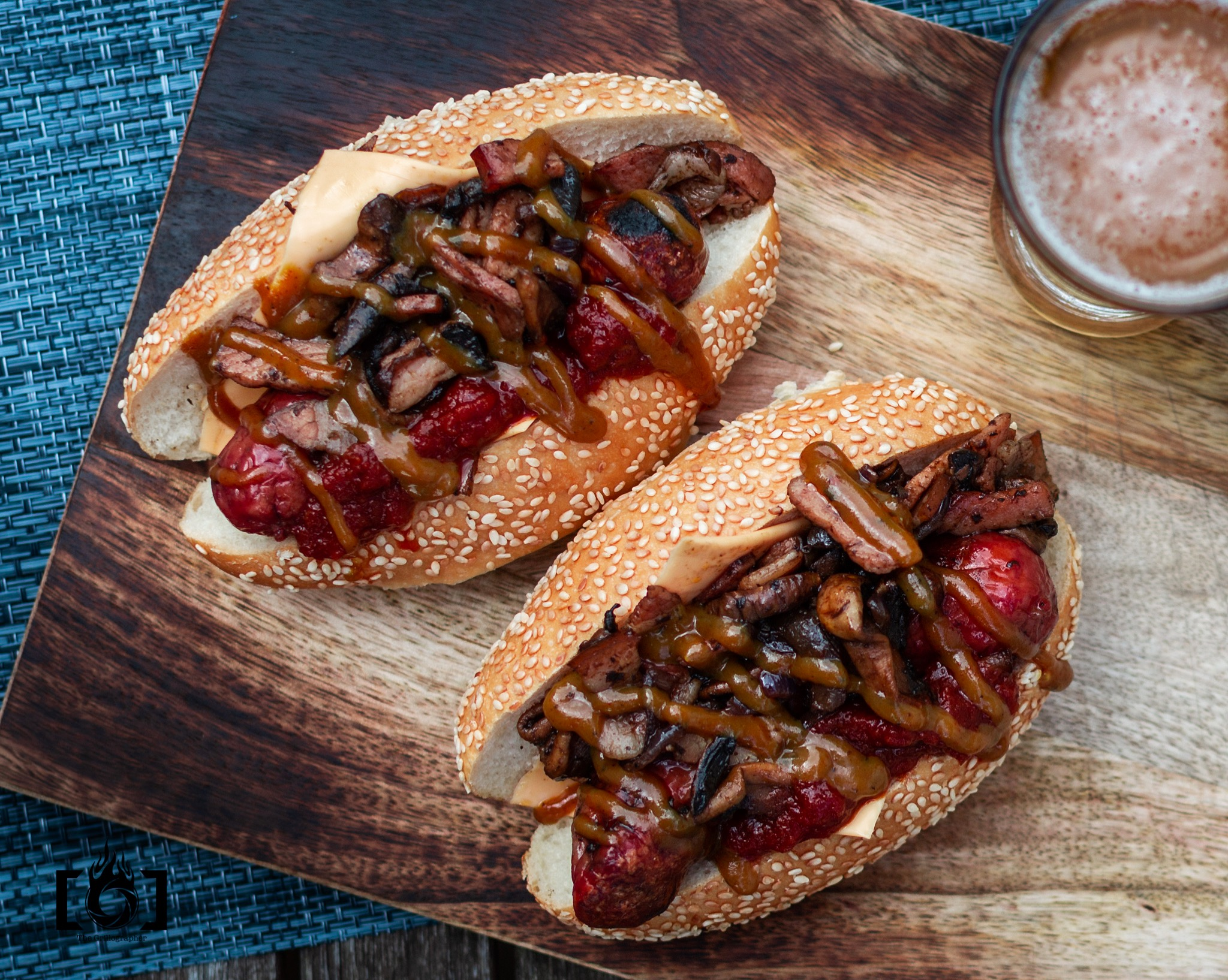 Beef bacon and mushroom dogs