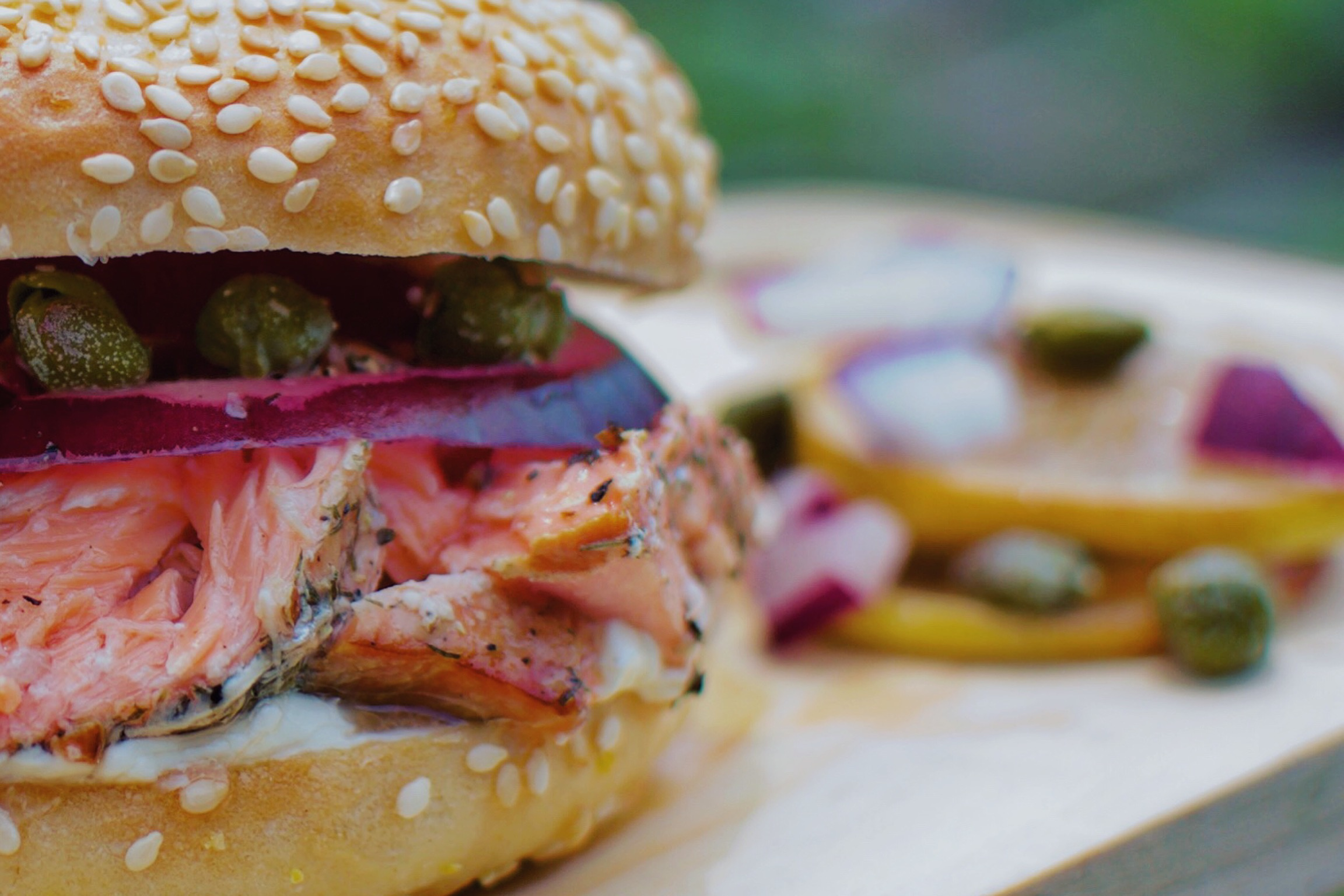 Grilled Salmon Bagel