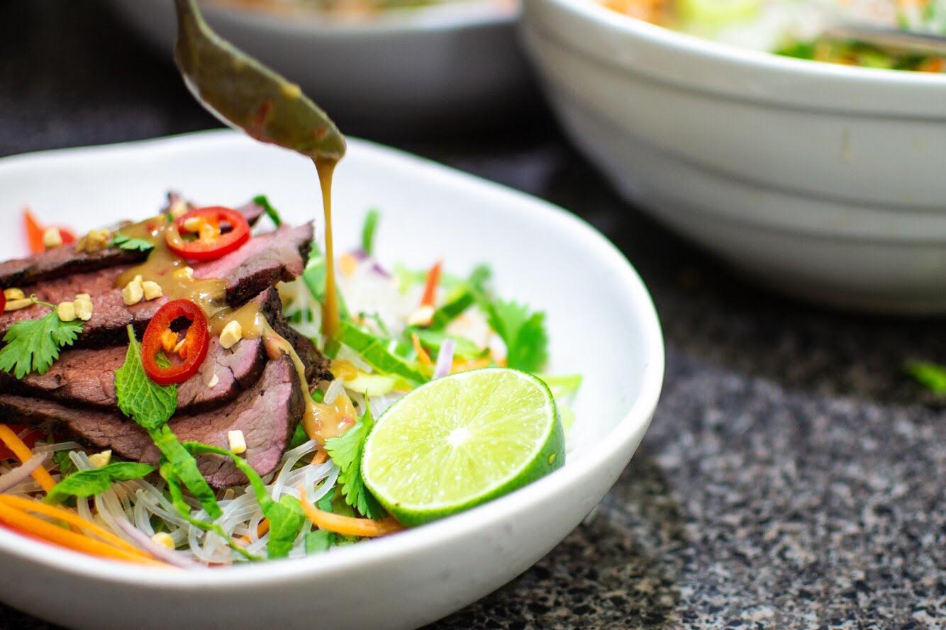 Beef tri tip noodle salad