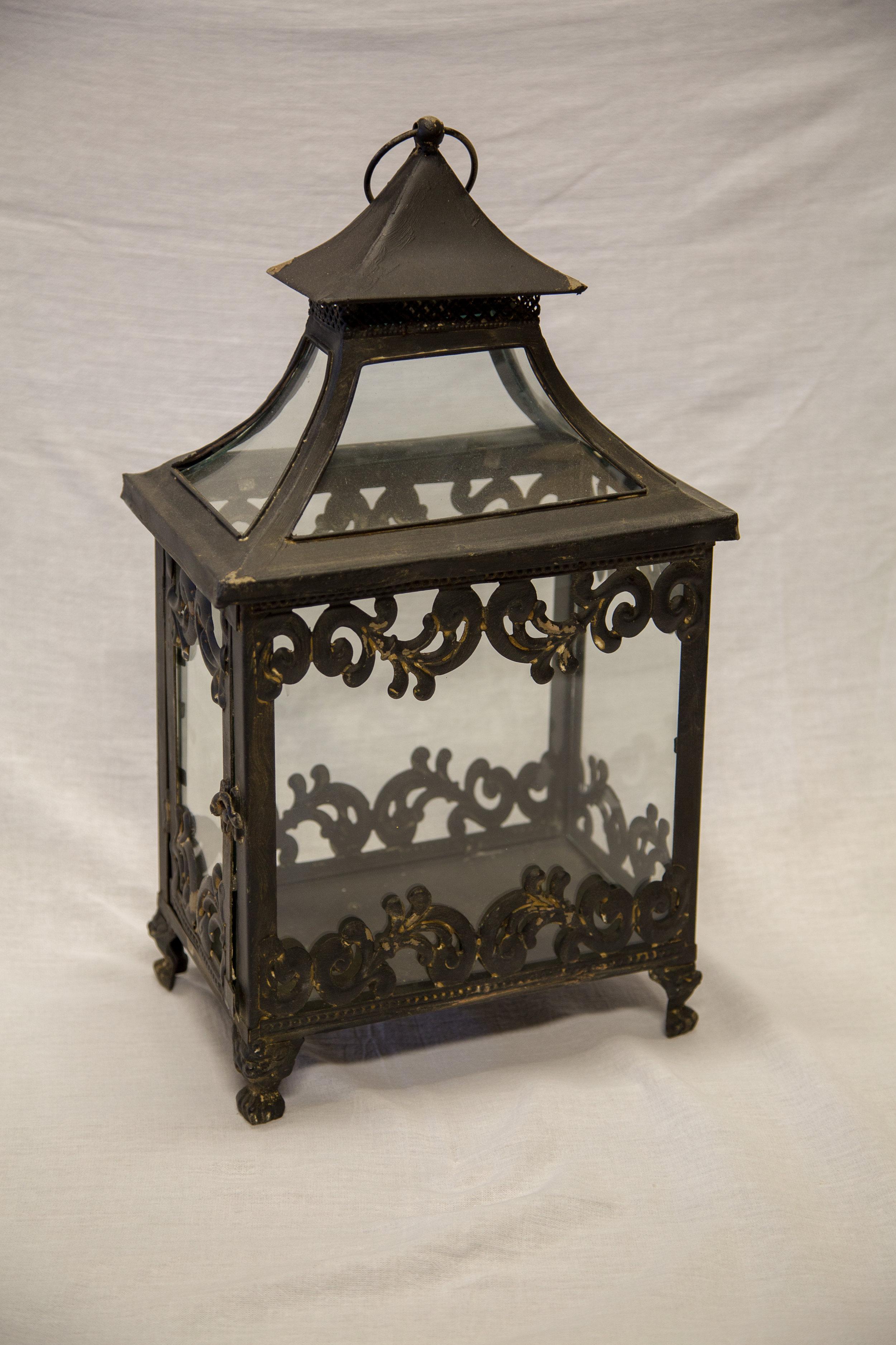 Black Distressed Scalloped Lantern - $10.00