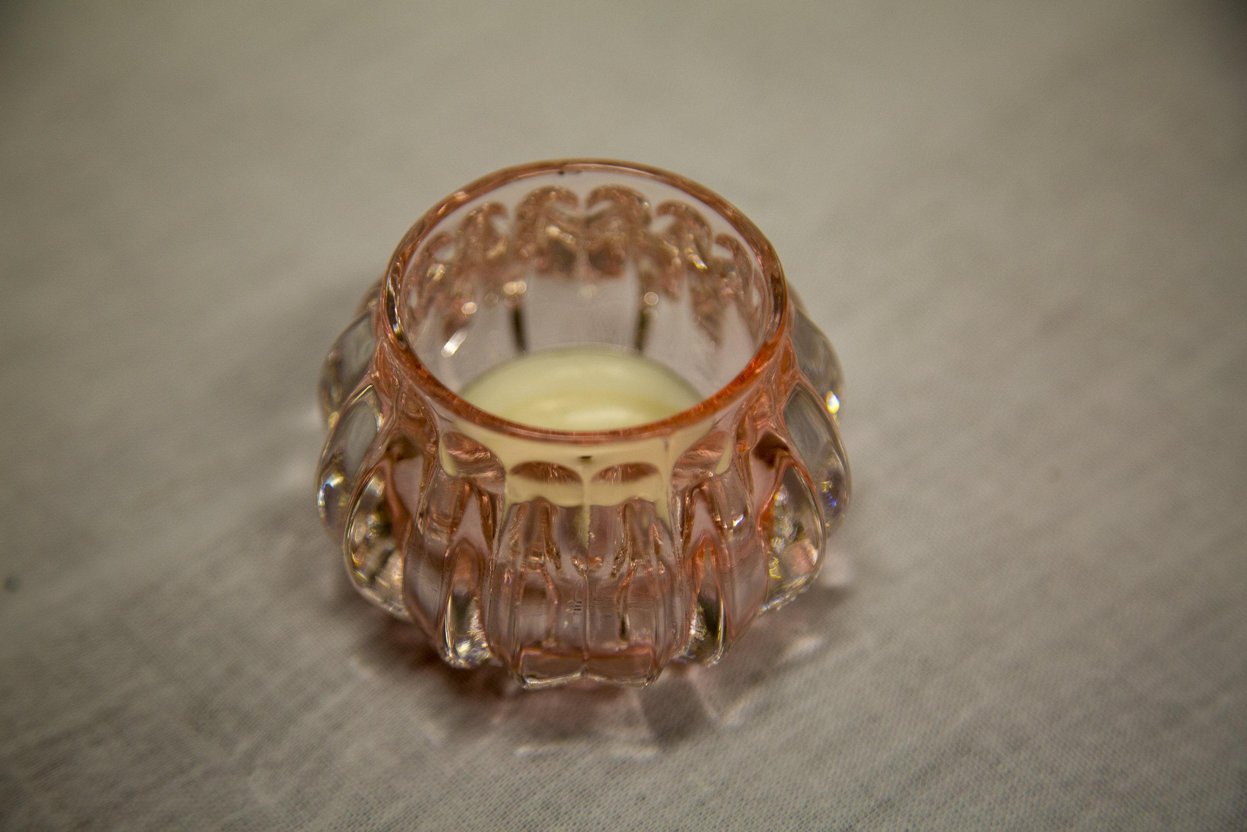 "Pink Mini ""Rose"" candleholder - $1.00"