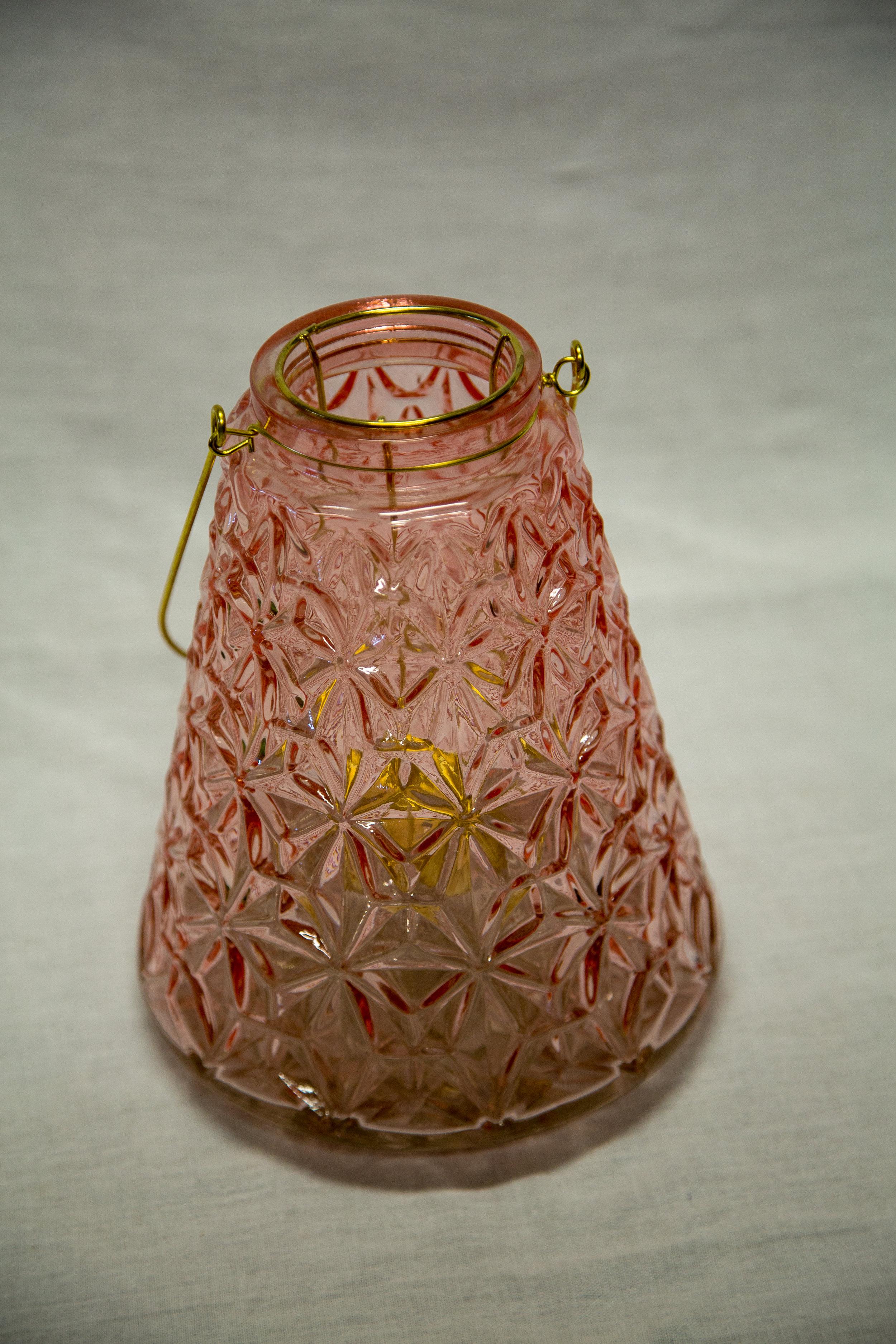 "Pink Glass ""Molly"" Lantern - $7.00"