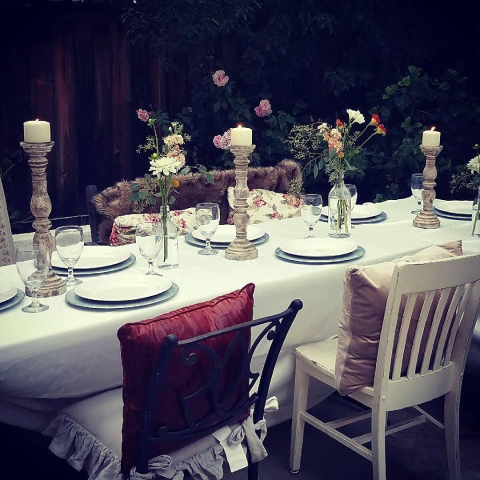 Cream Distressed Wood Candleholders