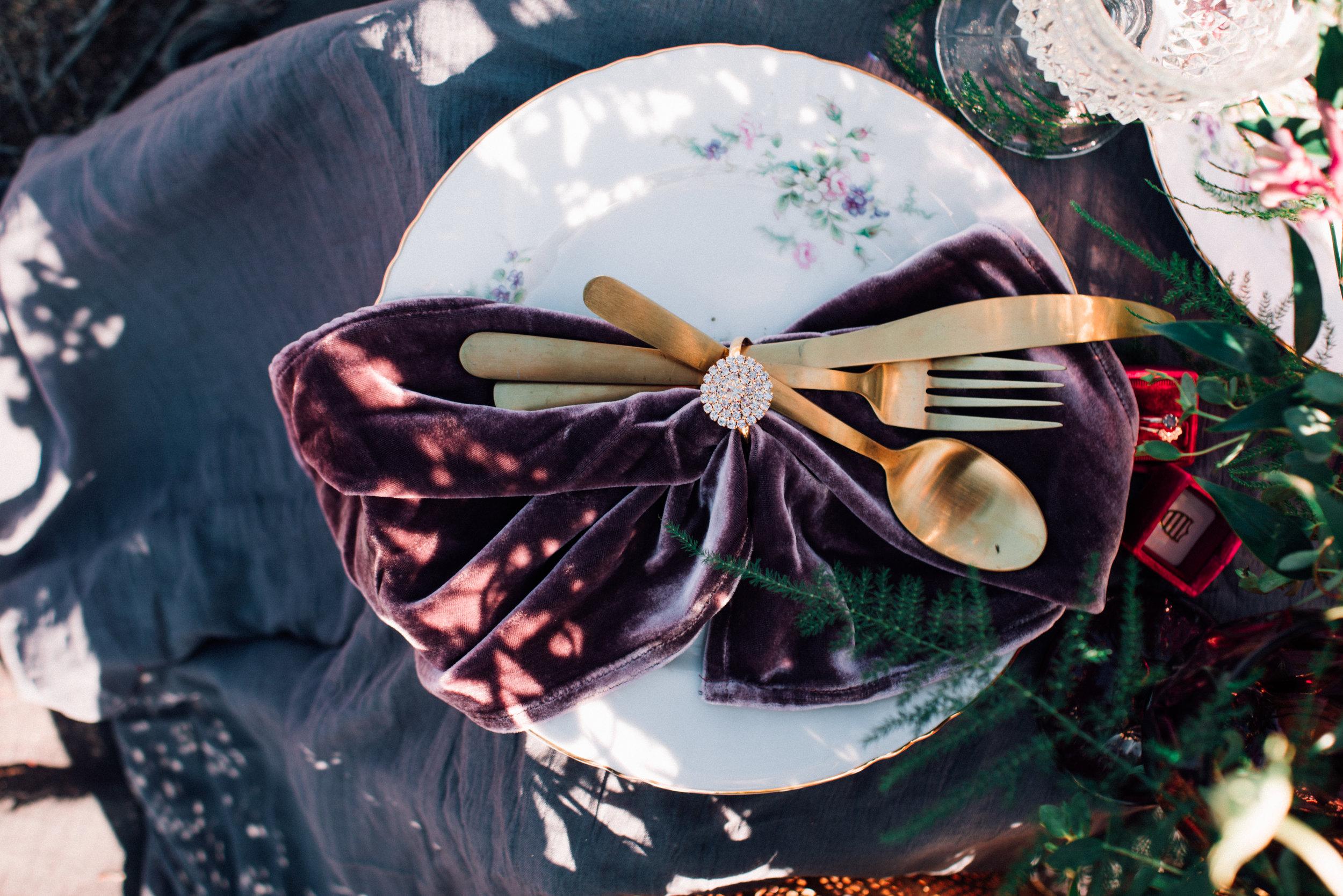Antique Mauve Silk Velvet Napkin