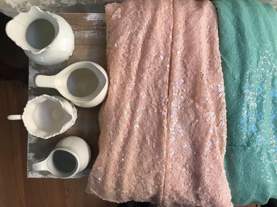 Peach and Mint Sequin Dessert Tablecloths - $25.00
