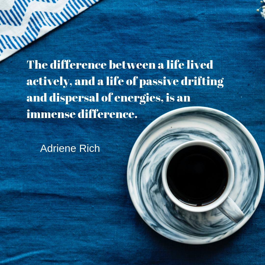 adrienne rich, coffee cup, blue, chevron stripes