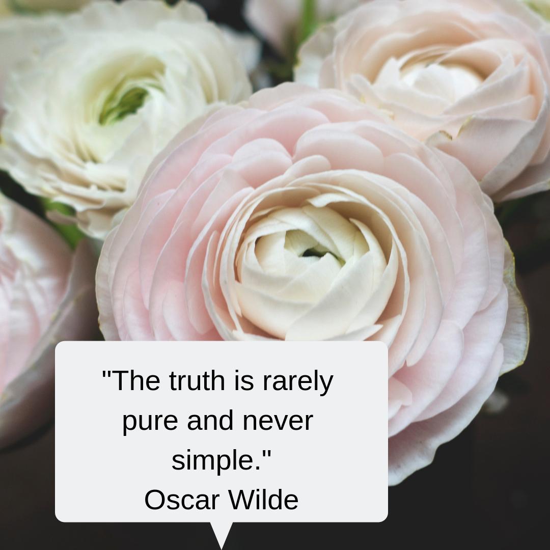 Peony, truth, quote, oscar wilde