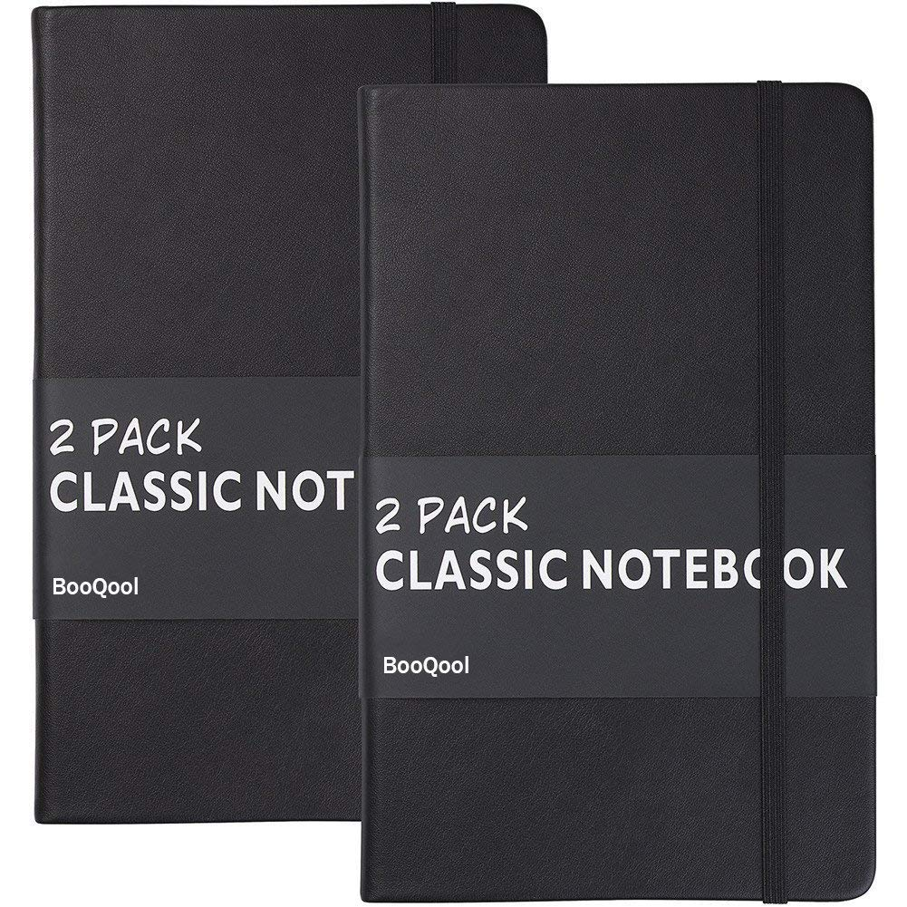 Black, classic notebook, leather