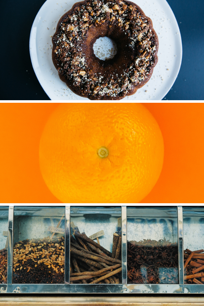 bundt cake, orange, cinnamon, spices, chocolate