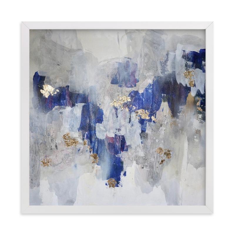 gold, blue, art print, white frame