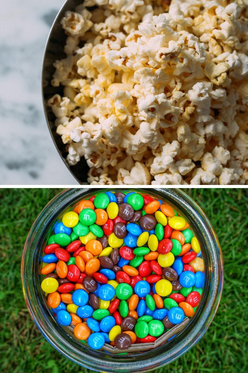 popcorn, m&ms