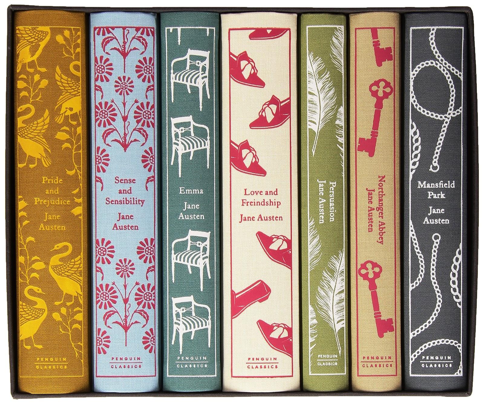 complete works of jane austen, hardcovers, minimal design