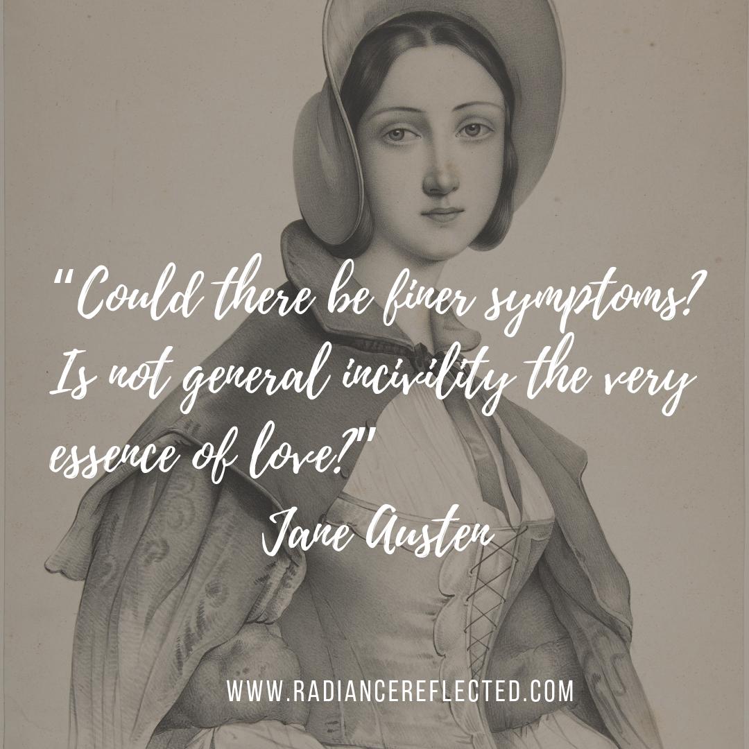 woman in a bonnet, jane austen quote