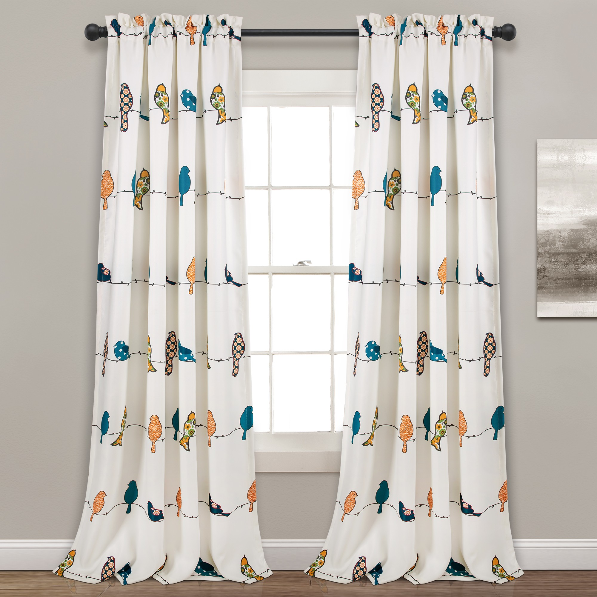 birds, rowley curtains, lush decor