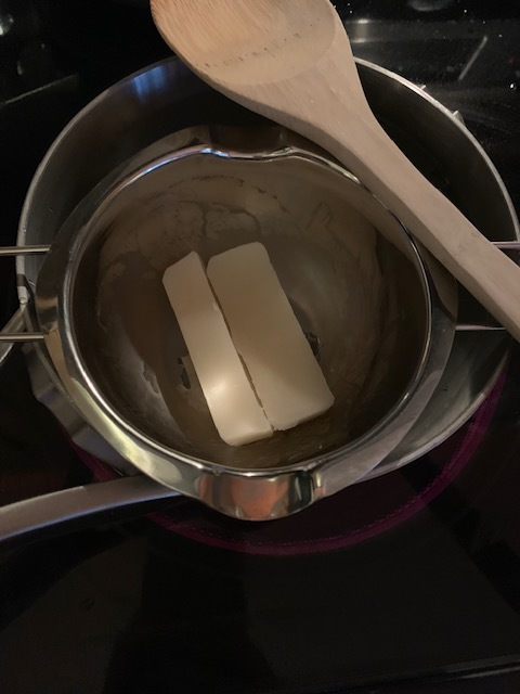 Double boiler with beeswax