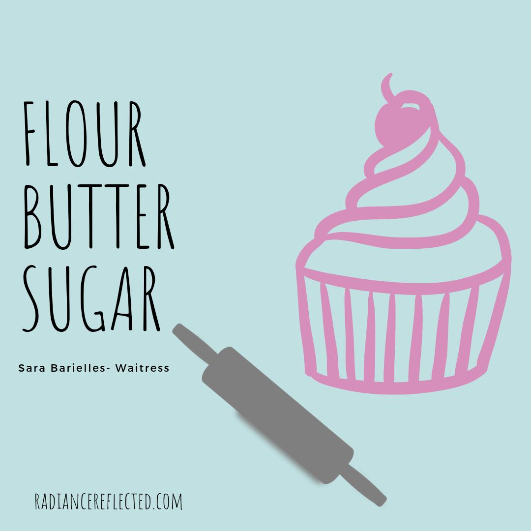 Flour, Butter, Sugar, cupcake, rolling pin