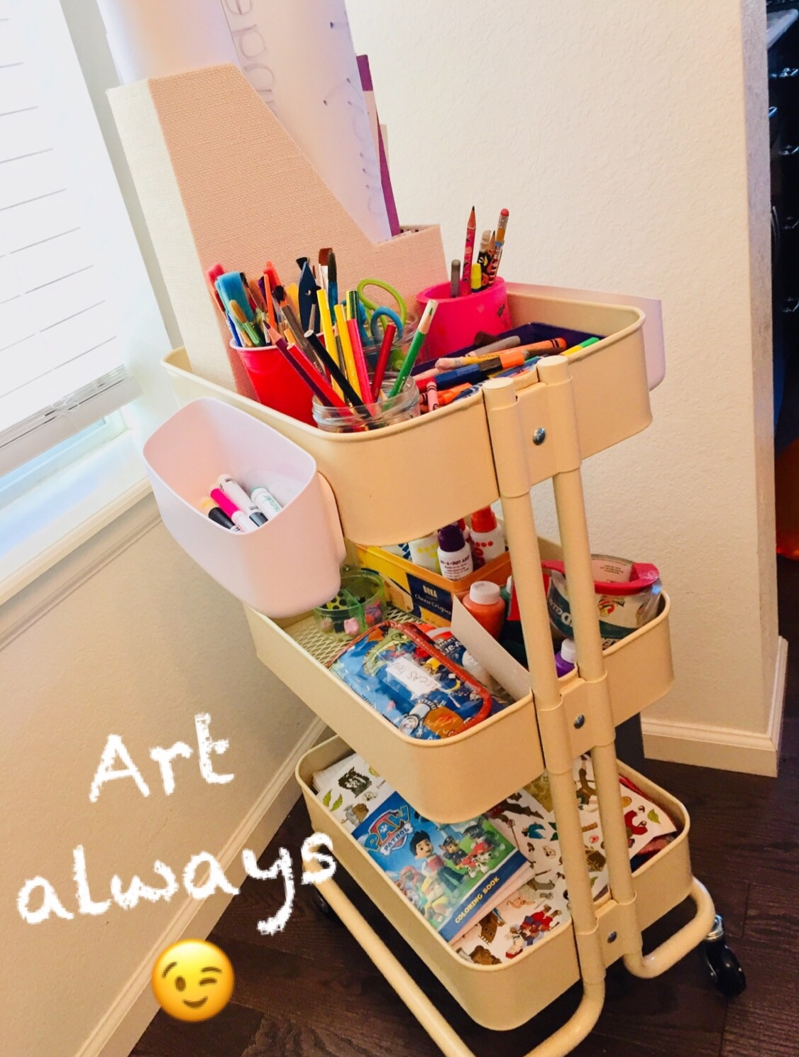 Art cart:  We love our art cart. It is very nice to be able to roll it around the house and hide it when we need to.  Different kinds of paper, scissors, markers, crayons, dot paint, paint, paint brushes, glitter, glue, stickers, tape…