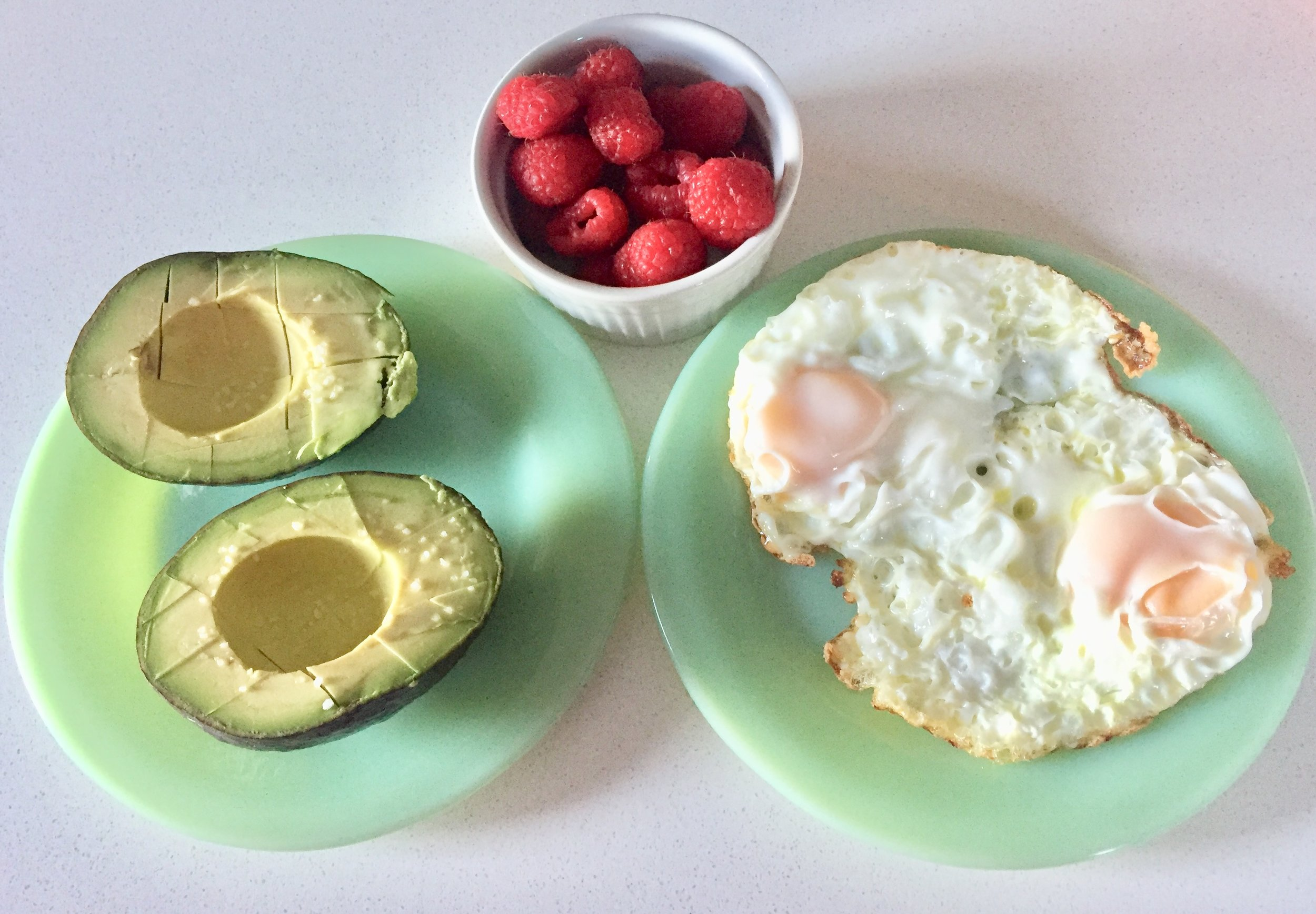 Avocado, raspberries and eggs.