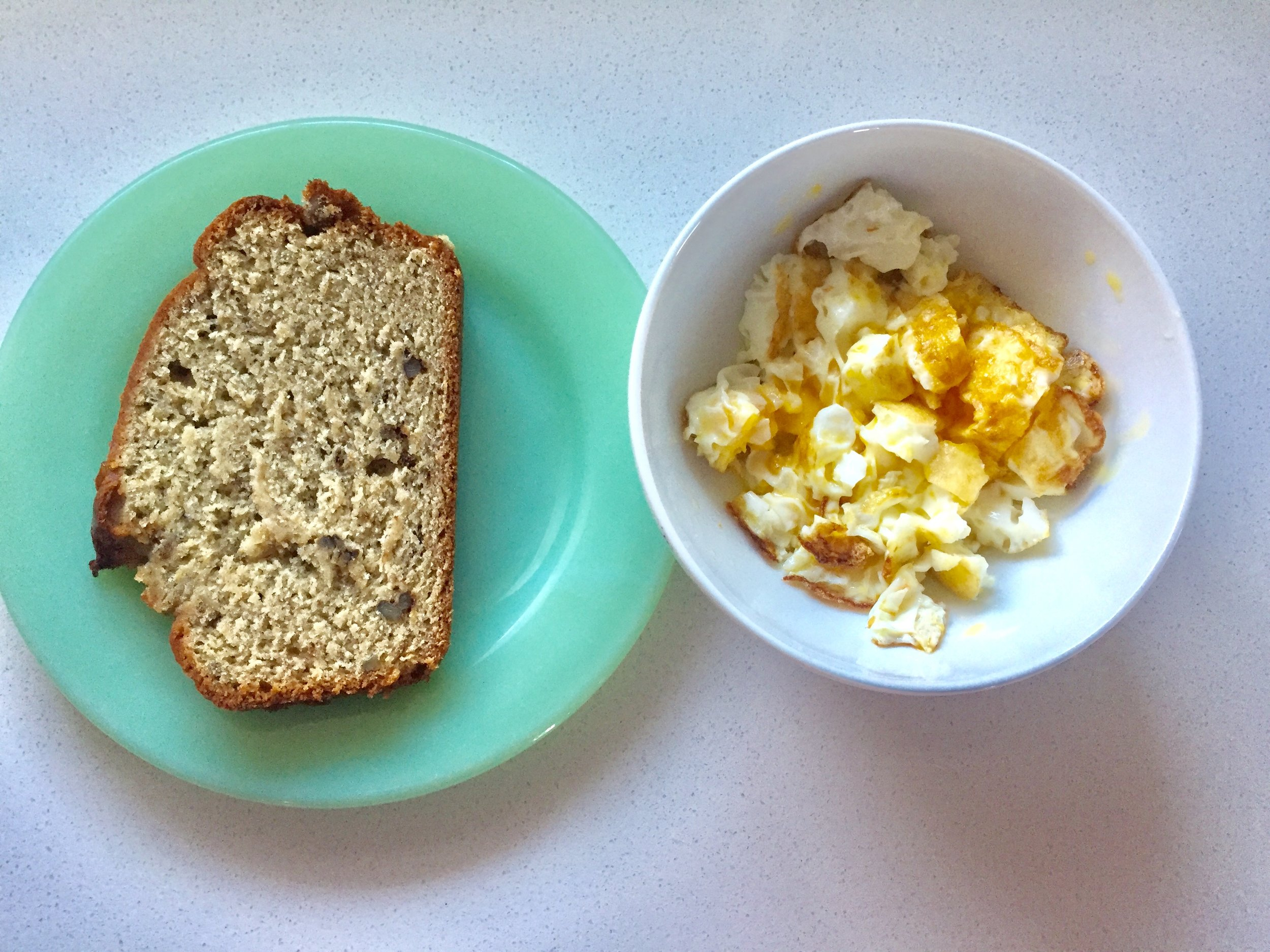 Banana bread and eggs.
