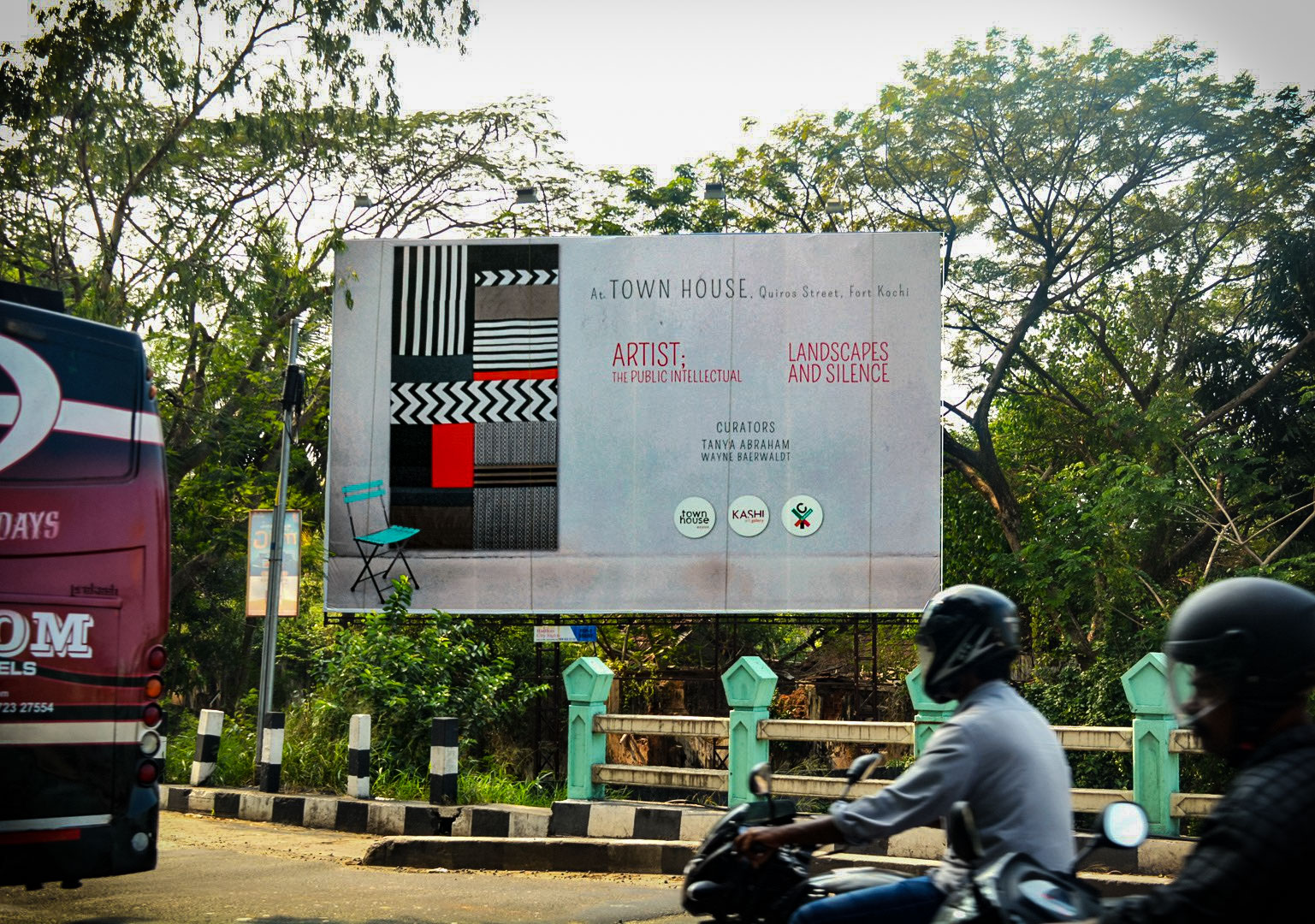 Billboard featuring the piece Shift on the Mattancherry Bridge, Fort Kochi, India