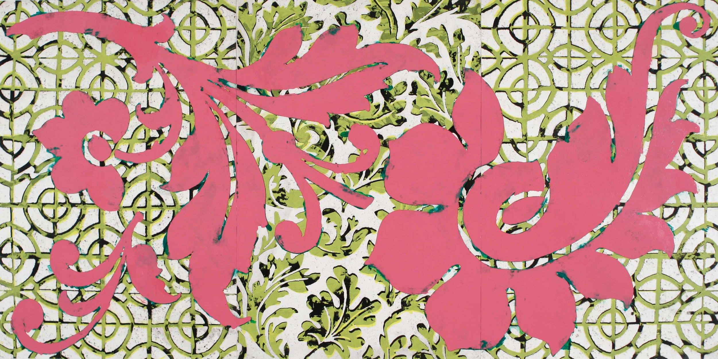 "Temporary Garden . Enamel, acrylic and mixed media on canvas mounted on panel, 36"" x 75"""
