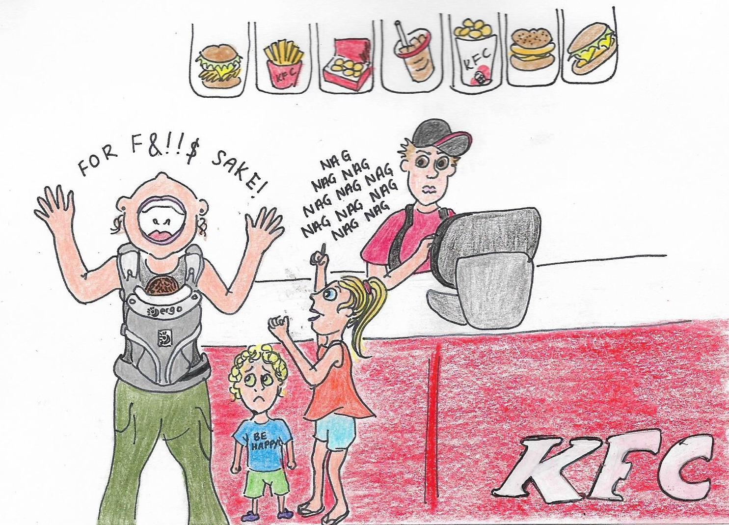 mum and kids at KFC