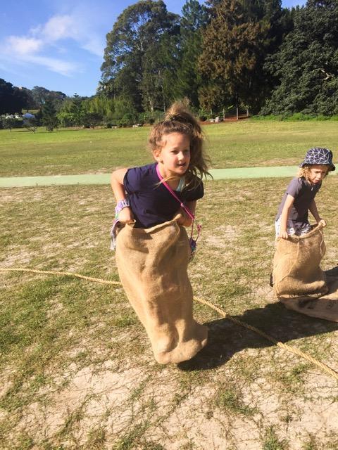 kids in a sack race