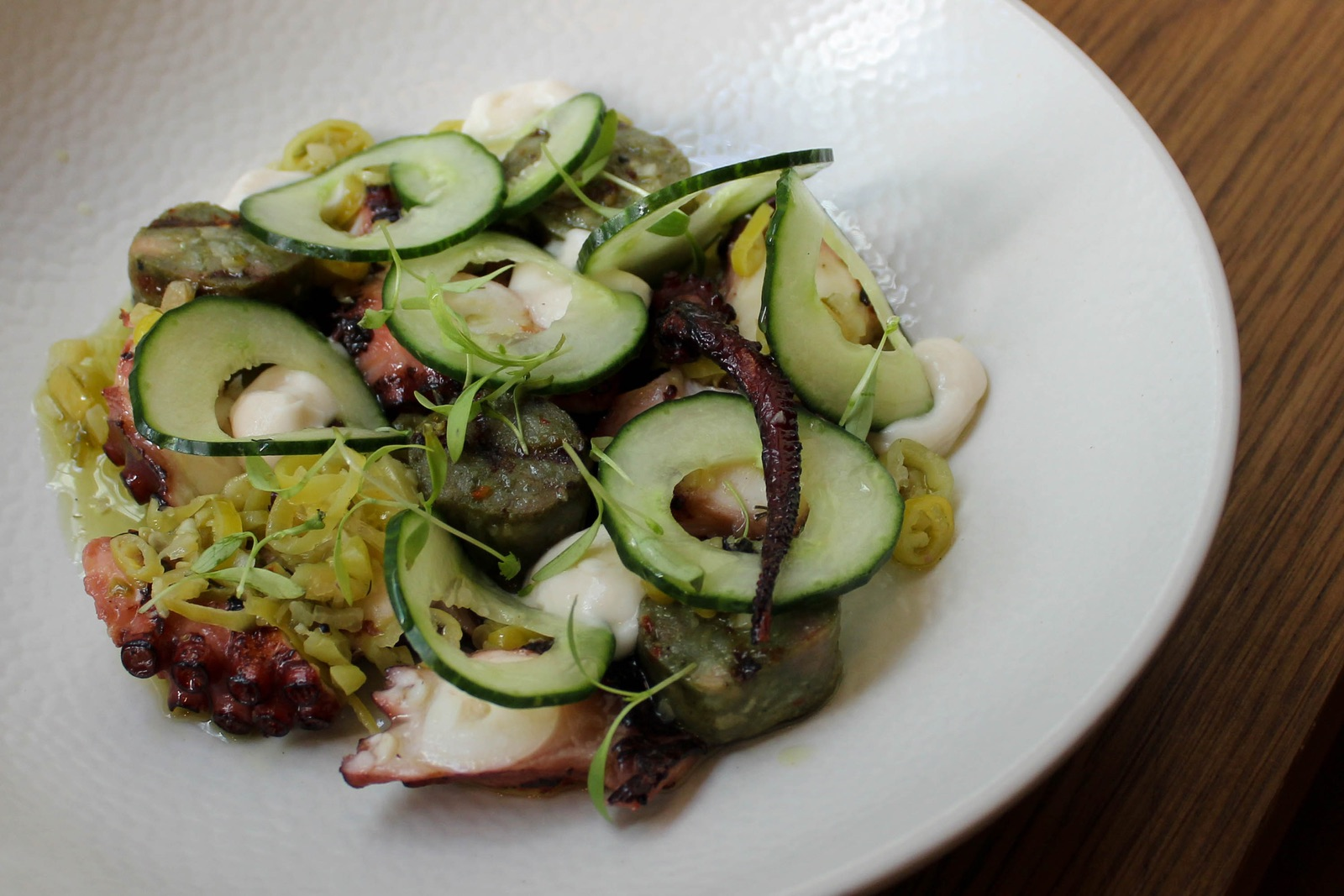 Grilled Fremantle octopus, green chorizo & whipped cod roe $22.00 - Availability: Lunch and Dinner