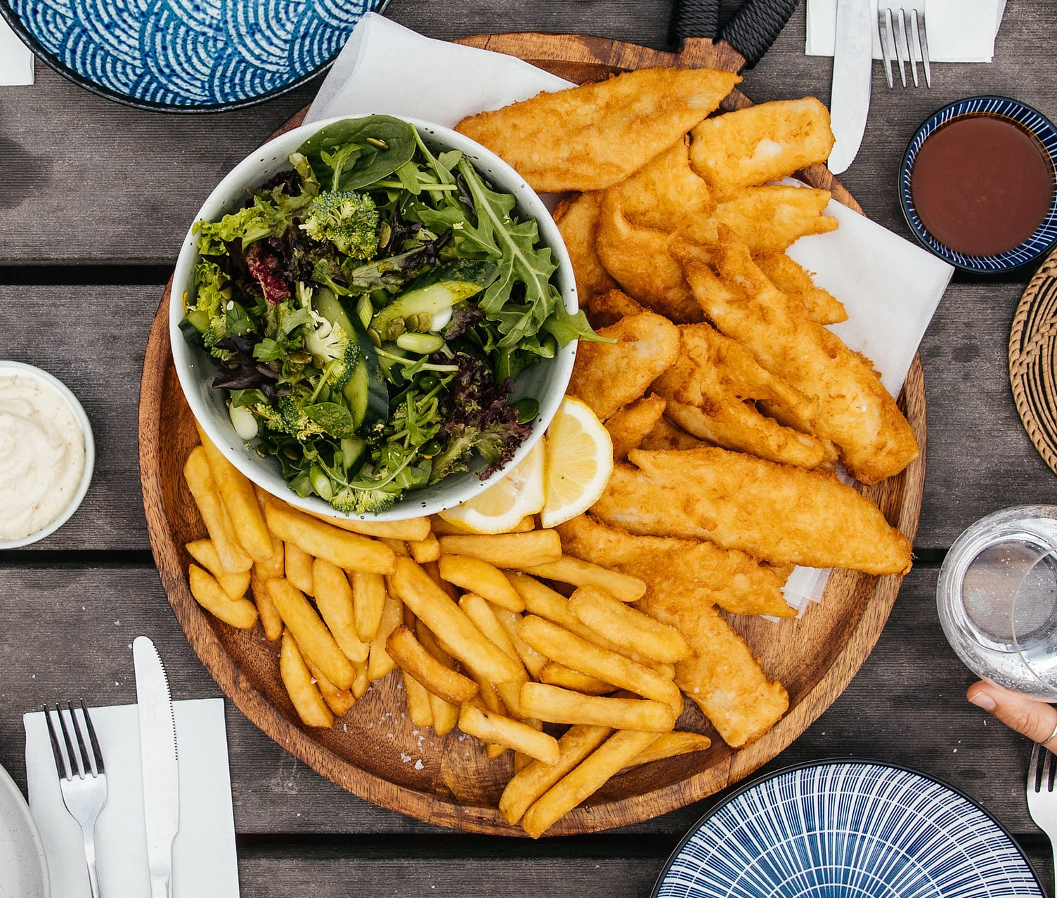 Family WA Mackerel with chips and 3 dipping sauces $44.90 - Availability: Lunch and Dinner, 7 days