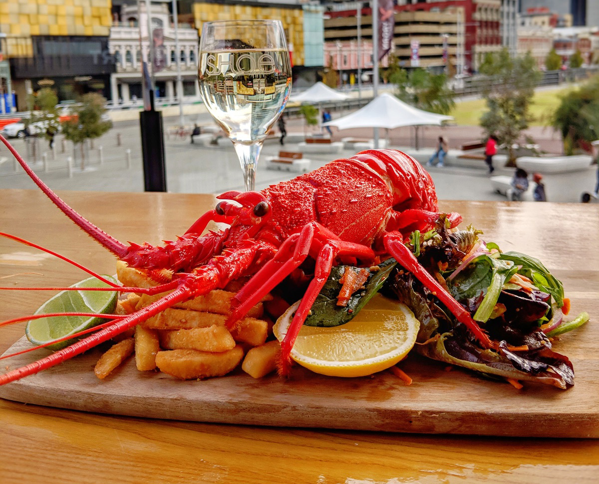Half of a WA Rock Lobster, chips & Salad served with a 150ml glass of Deep Woods wine $38.50 - Availability: From 11:30am daily