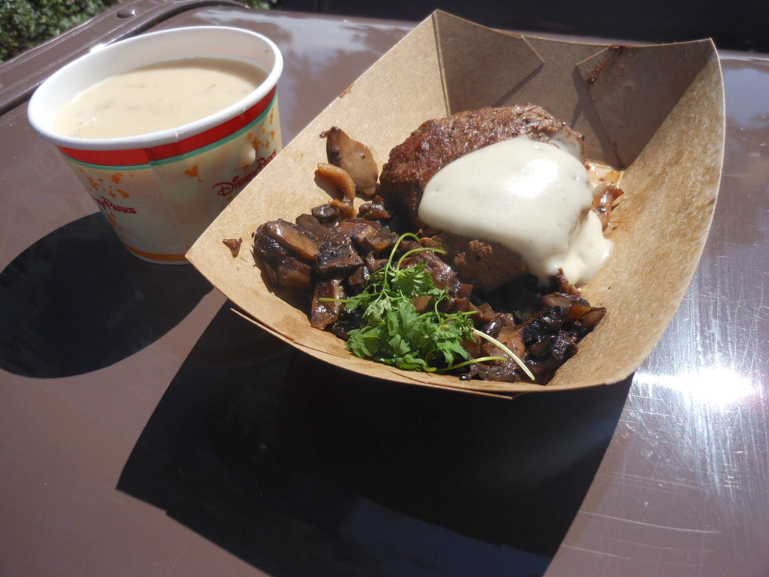 cheddar cheese soup and wild mushroom filet