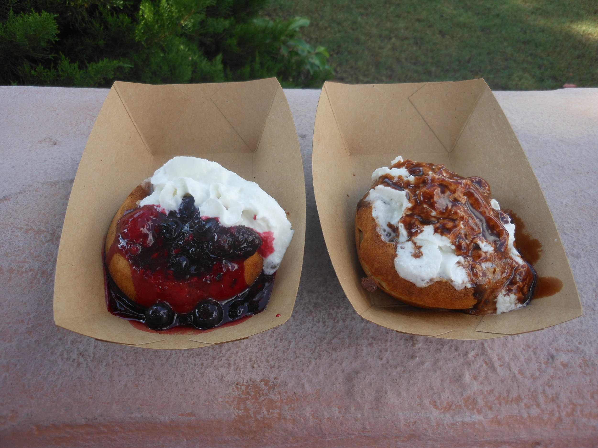 belgian waffle with berries (left) and chocolate (right)
