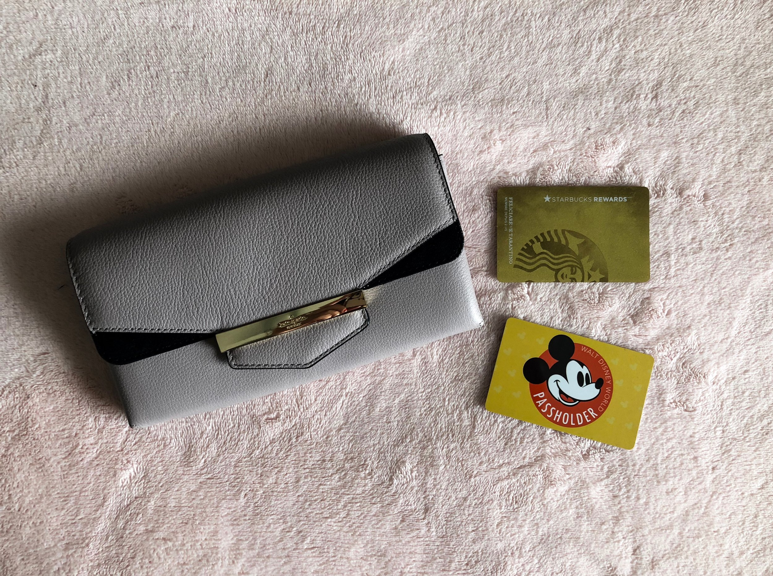 Wallet - First and foremost, I always make sure to have my wallet on me. You always want to make sure to have your Credit/Debit cards and some US currency. I also will have my Disney annual pass for parking and discounts, and my Starbucks Rewards card for if I want to get a coffee while I'm at Disney!