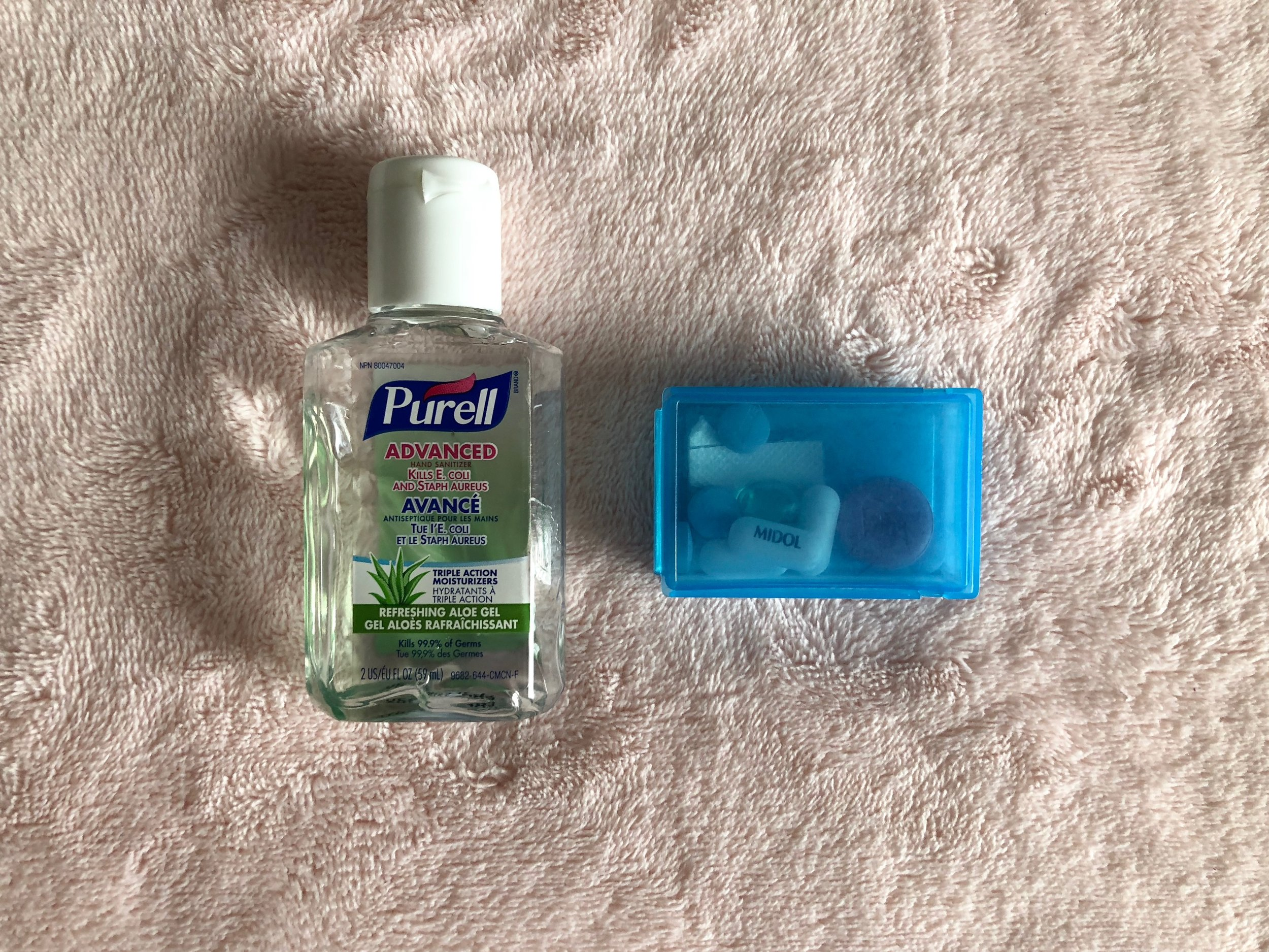 Sanitizer + Meds - As Disney is a theme park and many people pass through, I always have hand sanitizer on me and make sure to use it whenever I'm about to eat. I also bring an assortment of basic meds with me, like Aleve, Midol, and Pepcid for emergencies.