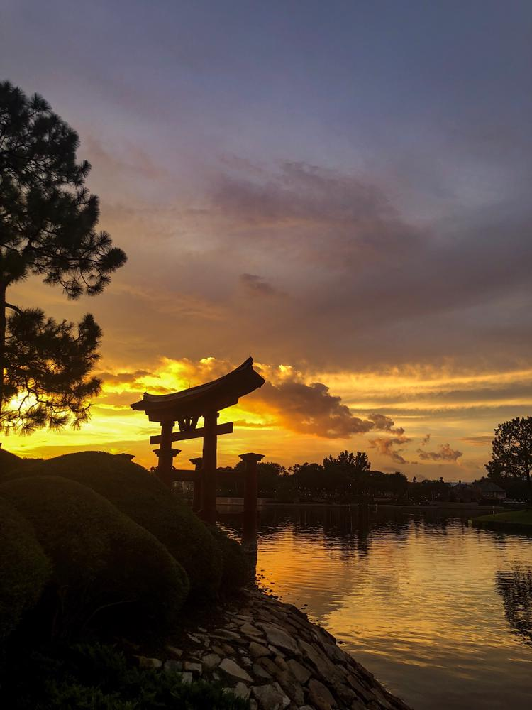 Sunset over world showcase