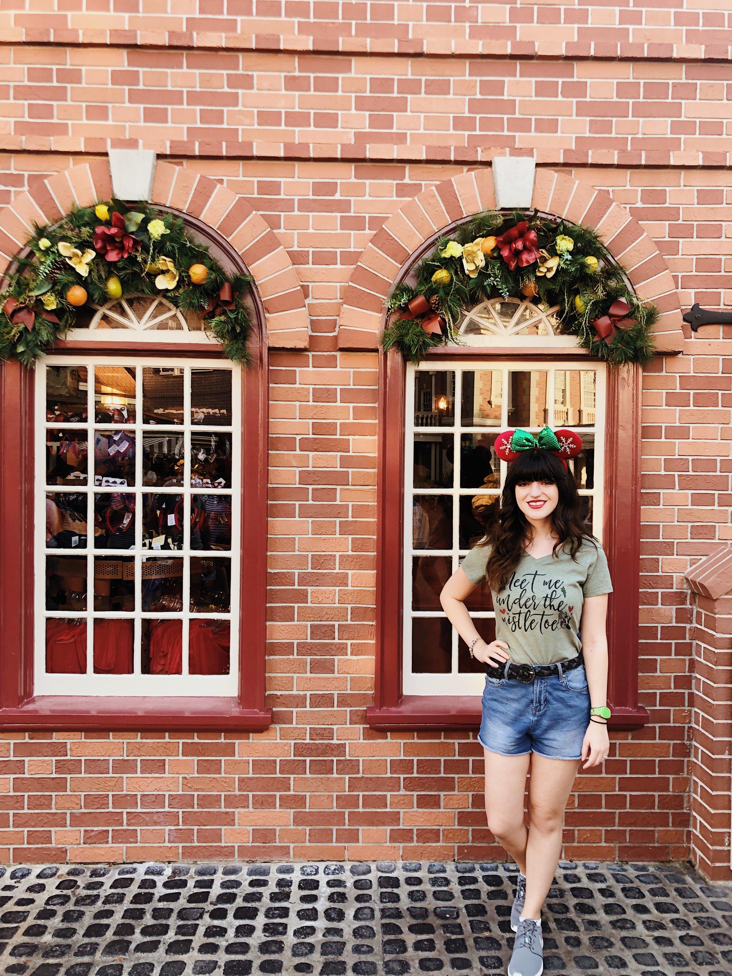 """meet me under the mistletoe"" shirt - shopdisney (old); christmas ears -  shopdisney"
