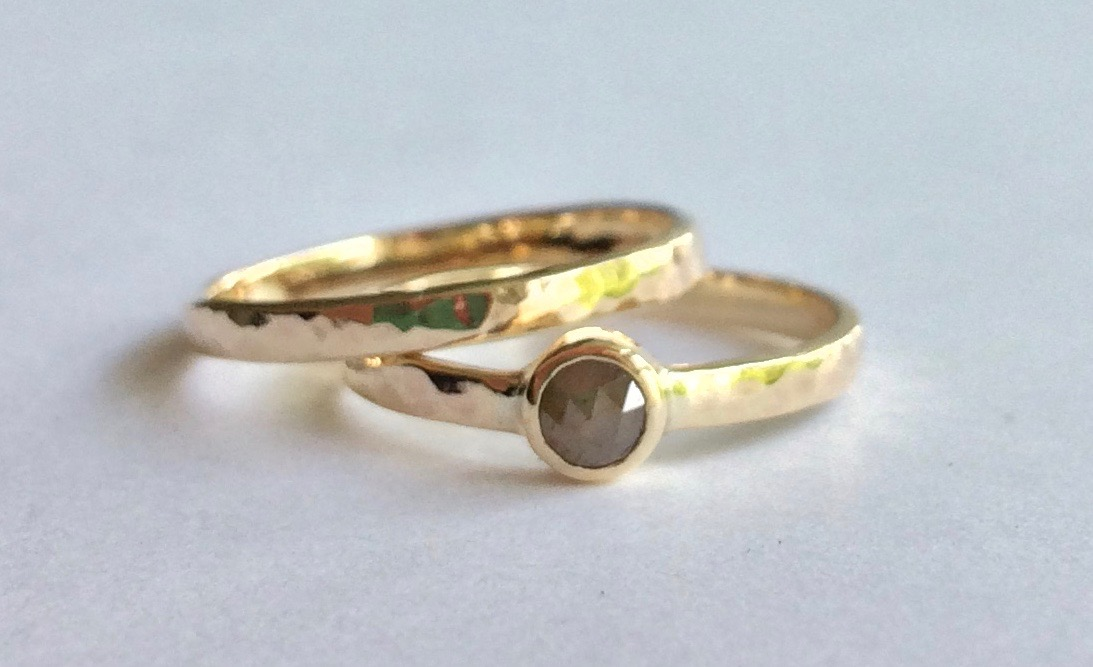 Ethical Mine to Market Grey Rose-cut Diamond Engagement Ring and Wedding Band Set in 9ct Yellow Recycled Gold