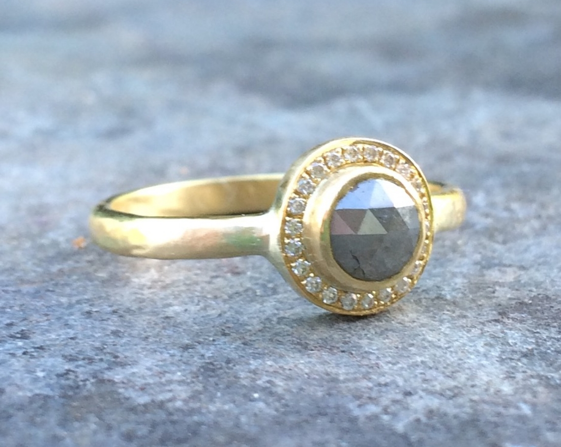 Tim and Becky's Ethical Mine to Market Grey Rose-cut Diamond Halo Ring in 18ct Yellow Fair-trade Gold