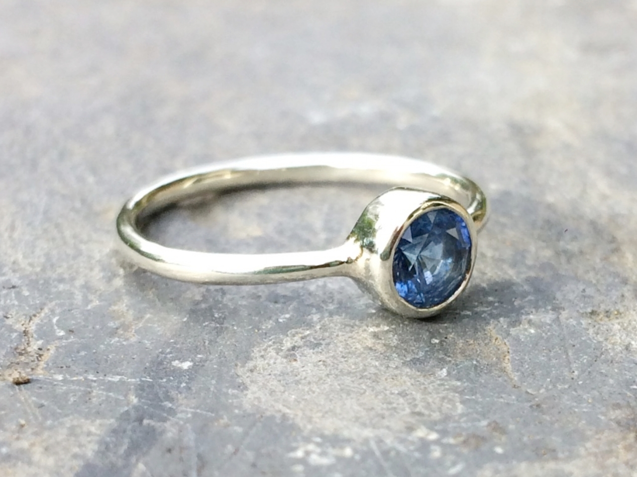 Tristan and Emma's Gorgeous Ethical Blue Sri Lankan Sapphire in 9ct Recycled White Gold