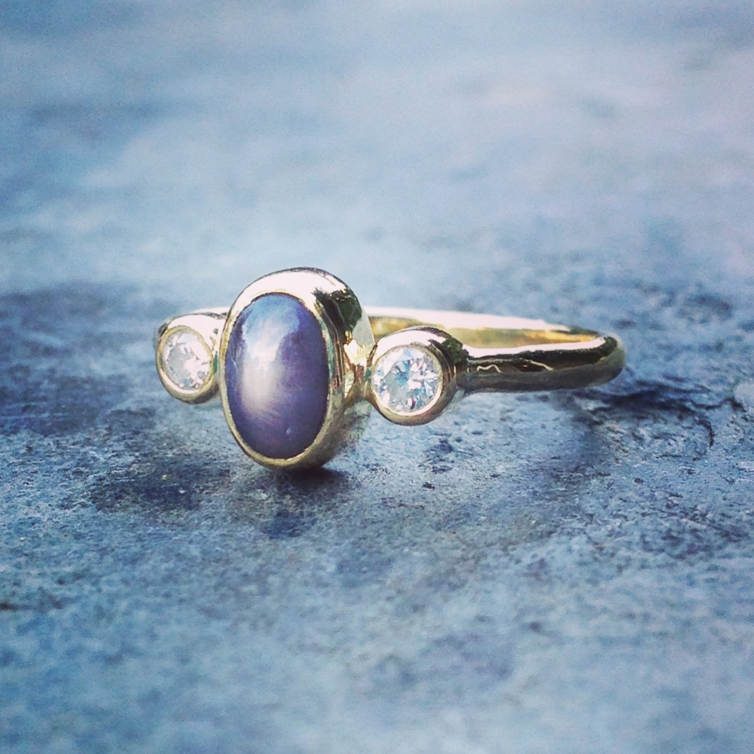 Joseph and Vicky's Grey Star Sapphire and Diamond, 18ct Yellow Recycled Gold Engagement Ring