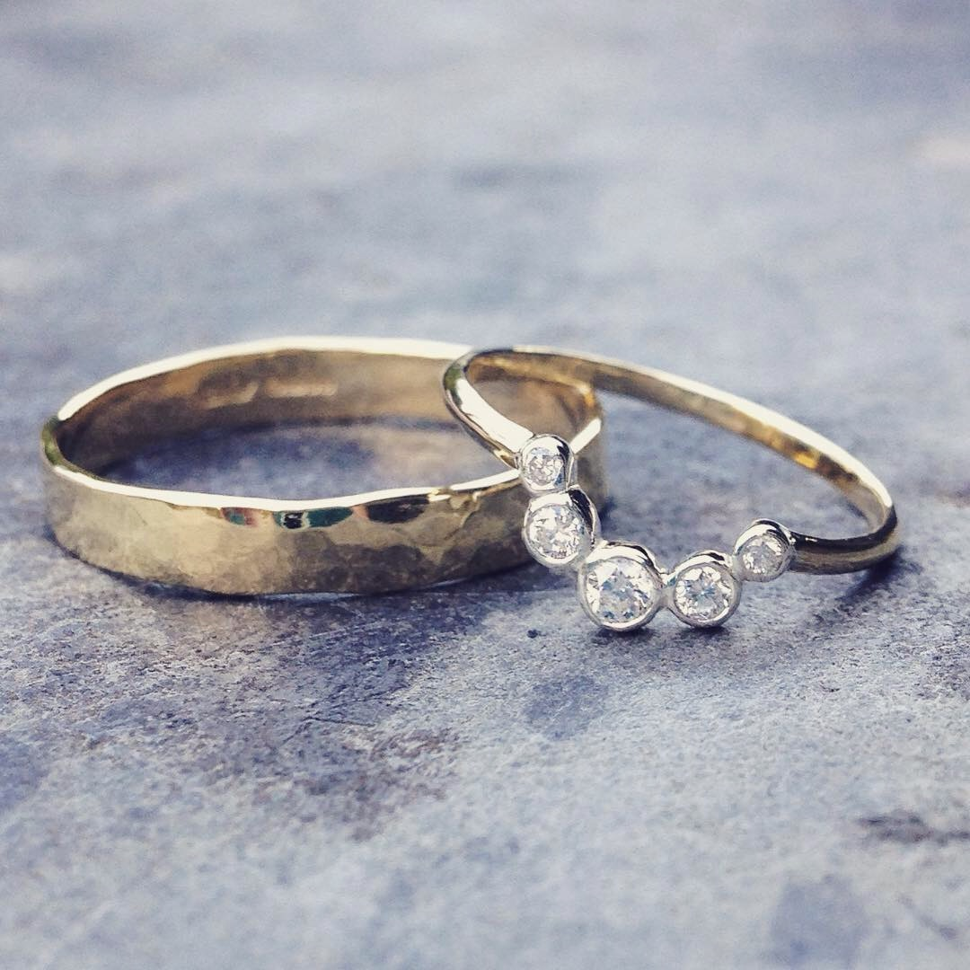 Bespoke Recycled Gold and Ethically Sourced Diamond Wedding Bands for Ian and Sian