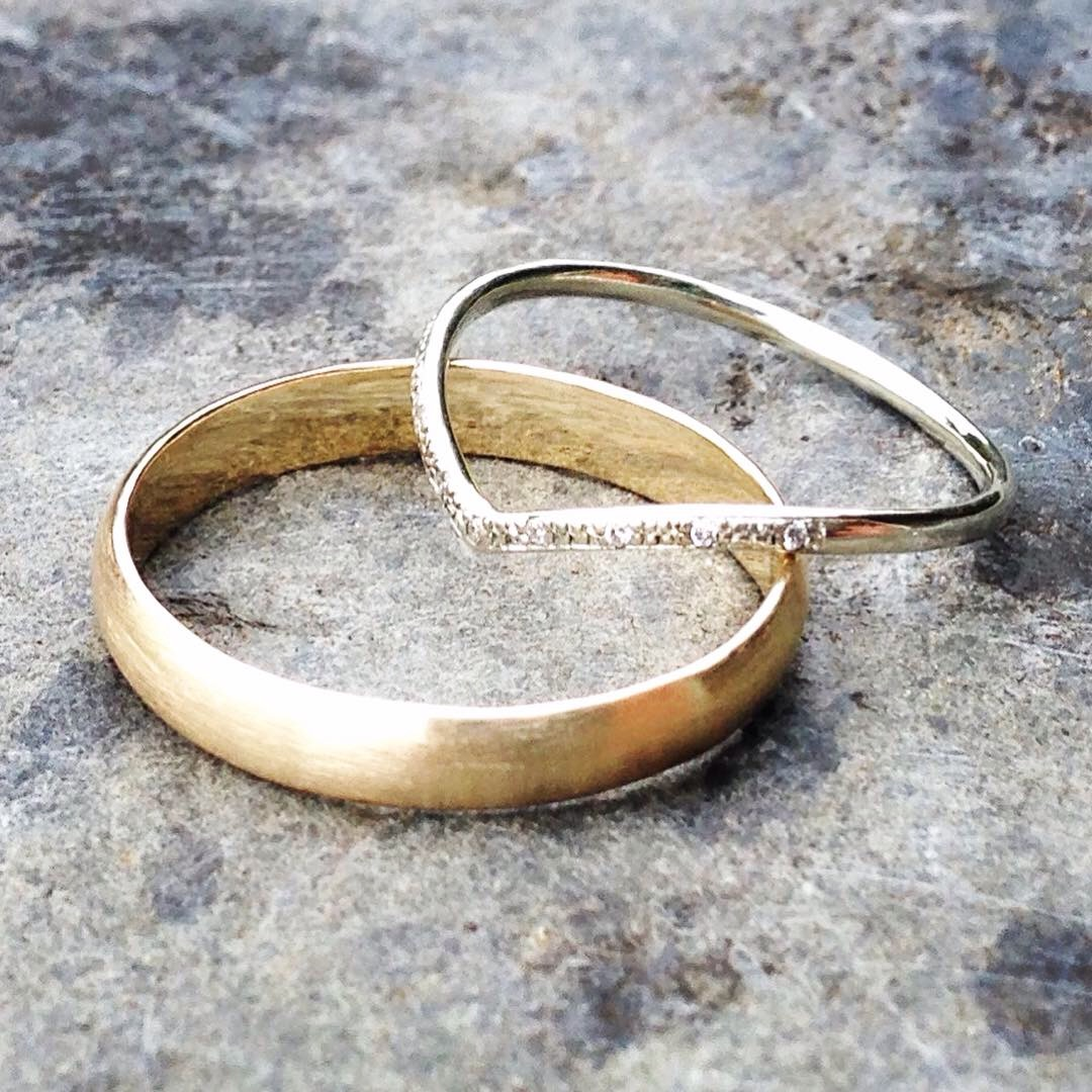 Recycled Gold Wedding Bands for Jessie and James with Conflict-Free Diamonds for a touch of sparkle!